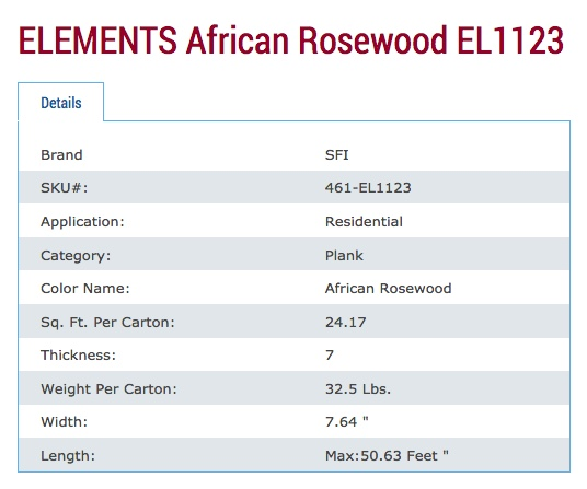 Elements African Rosewood Specs
